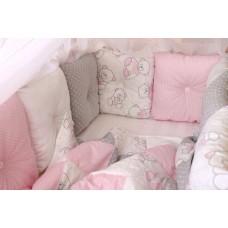 """Бортики в кроватку """"Серо - розовый"""""""
